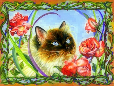 ..Roses Sylvia.. - pretty, draw and paint, beautiful, adorable, paintings, cherish, flowers, furs, animals, lovely, curious, love four seasons, creative pre-made, cute, summer, cats, kitten