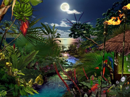 Moonshine in Paradise - bananas, painting, river, trees, artwork, sea