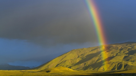 Rainbow over Mountain - rainbows, nature, clouds, mountains
