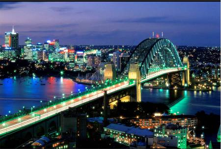 Sydney Harbour Bridge - sydney harbour bridge, city, night lights, buildings, australia
