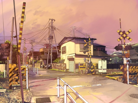 Railroad Crossing - railroad, japan, crossing, town, orginal, scenery