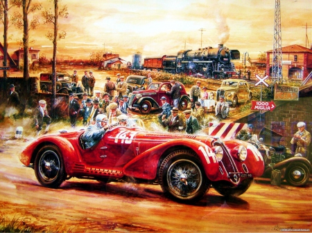 Classic Racecar - locomotive, sunset, steamtrain, artwork, oldtimer, cars, train, people, painting