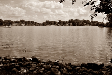 Soothing Sepia - tranquil, scenic, Soothing Sepia, peaceful, relaxing lake, relaxing, lake