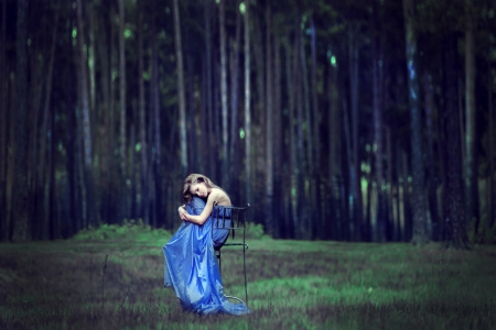 Beauty - forest, model, beauty, lady, blue