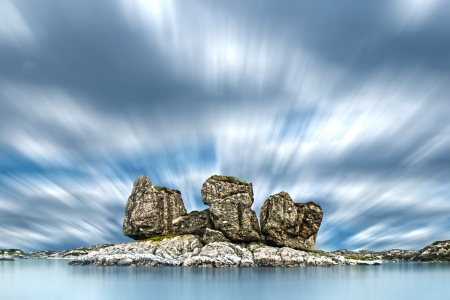 Three Rocks - blue, sea, exotic, clouds, Three Rocks