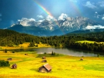 Rainbow At The Alps