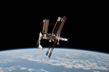 Space Shuttle and Space Station Photographed Together - stars, cool, space, fun, earth, shuttle