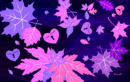 Happy Autumn! - autumn, by cehenot, word, card, leaf, purple, heart, pink, blue