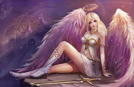 Angel - pretty, dress, wonderful, blond, hd, splendid, cg, beautiful, wing, sweet, halo, nice, fantasy, blade, feather, beauty, weapon, realistic, long hair, sword, gorgeous, wings, lovely, angel, blonde, blonde hair, sexy, blond hair, fantasy girl, awesome, angelic