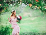 Girl with Flowers in Meadow