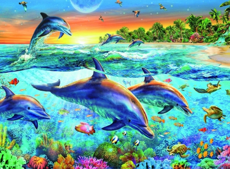 Dolphin Bay - pretty, reef, fish, beautiful, adorable, sea, sweet, nice, painting, coral reef, beauty, swimming, jump, underwater, lovely, ocean, turtle, coral, coralreef, cute, kawaii, dolphin, bird, swim, scene