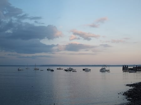 Lincolnville Beach, Maine - ocean, water, sky, boats, Lincolnville Beach, sunset, clouds