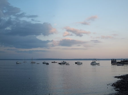 Lincolnville Beach, Maine - boats, water, Lincolnville Beach, ocean, sunset, clouds, sky