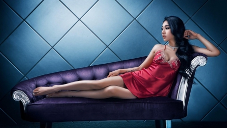 Asian Girl - cute, red dress, Asian, luxury
