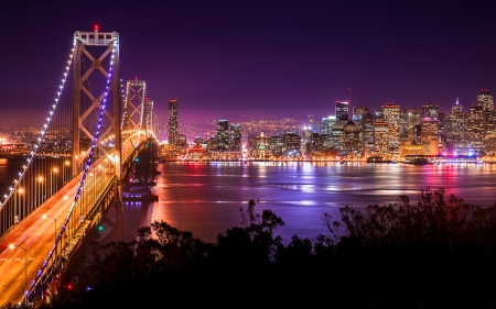 Golden Gate Bridge at Night - architecture, golden gate bridge, san francisco, bridges