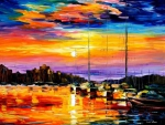 boats and sunset at sea