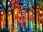 Lonely walker in the rain