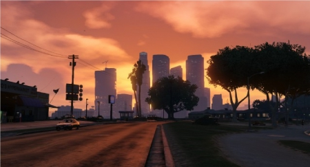 Skyline at Sunset - skyline, auto, grand, sunset, theft