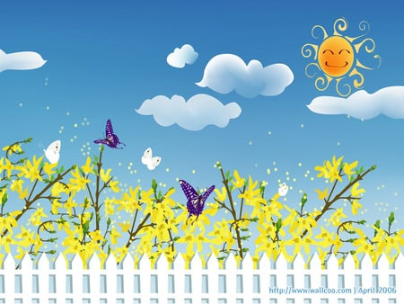 Sunshine Sky - fence, spring day, garden, sunshine, butterflies, clouds