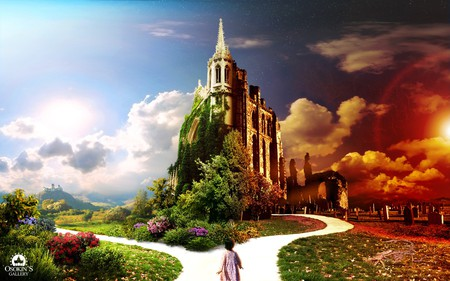 Live and Death is Only a Junction - colorful, junction, heaven, widescreen, 3d and cg, wds, death, life, graveyard, church, way