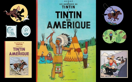 Tintin en Amerique - cartoons, stunning, tintin, snowy, nice, colored, famous, herge, black, collage, cartoon, bd, adventure, cool, france, entertainment, awesome, great, white, indians, colorful, comics, beautiful, picture, other, amazing, colors, fun, adventures, comic, usa, milou, drawing, funny, collages