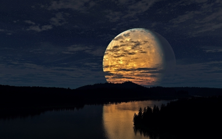 Full Moon River - nature, moon, trees, rivers