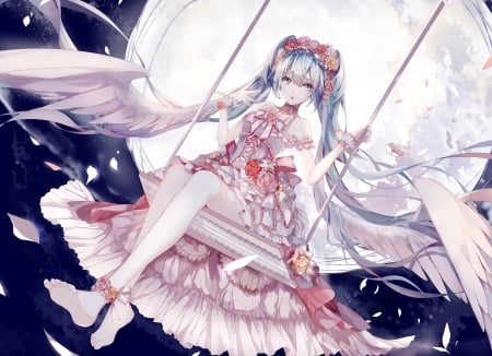 Moon Angel - pretty, cg, wing, sweet, nice, anime, feather, beauty, anime girl, vocaloids, long hair, wings, lovely, twintail, gown, miku, hatsune, swing, hd, dress, hatsune miku, beautiful, twin tail, moon, ir, vocaloid, female, angel, twintails, twin tails, girl, blue hair, miku hatsune
