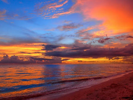 Beautiful Sky - red, beach, ocean, nature, sunset, sea, blue, Beautiful Sky