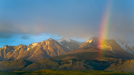 Rainbow over Argentina National Park - rainbows, mountains, nature, valleys