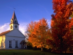 Church in New England in the Fall