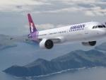Hawaiian Airlines in flight to Seattle