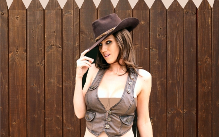 Cowgirl Salute - female, westerns, models, hats, fun, outdoors, women, fences, cowgirls, famous, girls, style