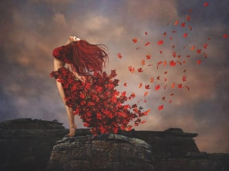 Lady Autumn - autumn, leaves, rock, red hair, lady