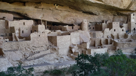 Cliff Palace at Mesa Verde F2 - photo, photography, Mesa Verde National Park, wide screen, dwelling, cliff, landscape