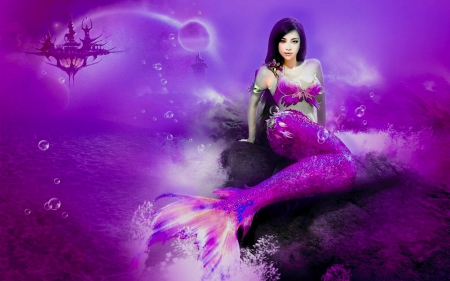 purple mermaid fantasy amp abstract background wallpapers