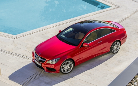 Mercedes Benz - benz, red, mercedes-benz, coupe, top view, mercedes, pool, e-class