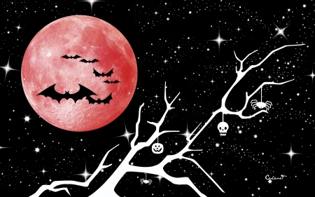 Happy Halloween! - red, stars, halloween, black, by cehenot, spider, branch, pumpkin, blood moon, bat, skull, night