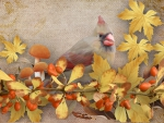 Autumn Bird and Leaves