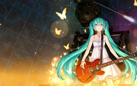 Gold Butterfly - pretty, magic, sweet, nice, gold, butterfly, anime, beauty, anime girl, vocaloids, long hair, lovely, twintail, golden, miku, hatsune, guitar, green hair, dress, glow, hatsune miku, beautiful, twin tail, light, vocaloid, female, glowing, blouse, twintails, butterflies, twin tails, girl, miku hatsune, sundress