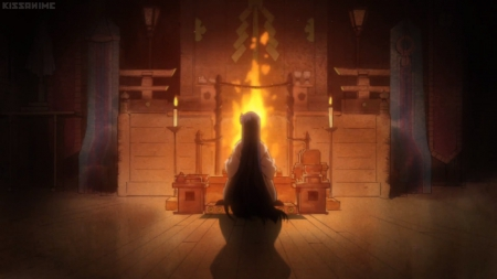 Fire Place - pretty, hino, magic, sweet, nice, anime, sailor mars, sailor moon, beauty, anime girl, long hair, lovely, fire, blaze, ice, hino rei, glow, priestress, beautiful, flame, magical girl, rei, darkness, rei hino, light, black hair, sailormoon, female, priest, magical giril, mars, girl, dark, fire place