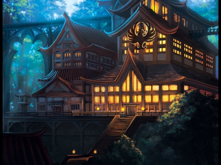Temple of the Phoenix  - pretty, house, glow, scenic, hd, cg, beautiful, sweet, nice, anime, shrine, temple, beauty, scenery, realistic, light, night, lovely, glowing, building, scene, landscape