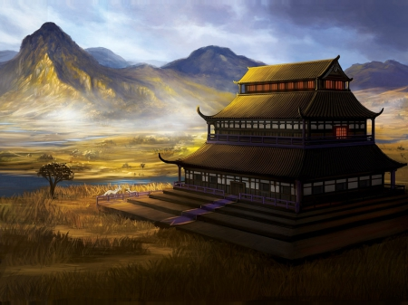 Plains of the Unicorn - pretty, house, scenic, hd, cg, home, beautiful, sweet, nice, anime, shrine, temple, beauty, scenery, realistic, lovely, unicorn, horse, building, awesome, scene