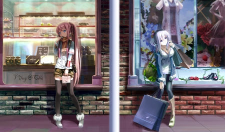 Different Taste - shop, pretty, hd, cg, shopping, bag, beautiful, supermarket, sweet, nice, anime, beauty, anime girl, scenery, long hair, female, lovely, window, blouse, monique, girl, jacket, scarf, scene