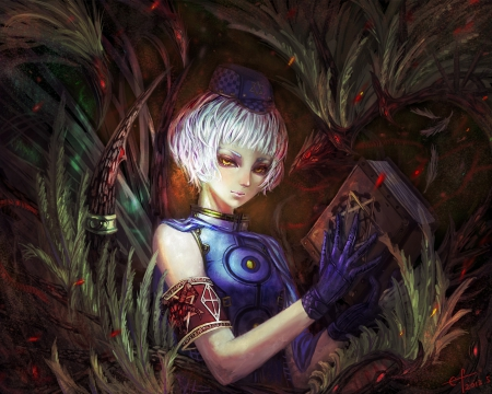 Elizabeth - pretty, video game, game, book, beautiful, sweet, nice, persona, anime, beauty, anime girl, realistic, female, lovely, rpg, persona three, short hair, elizabeth, girl, silver hair, persona 3