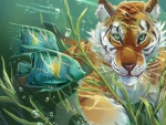 Tiger and fish