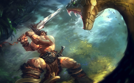 conan and the snake - python, fantasy, conan, snake