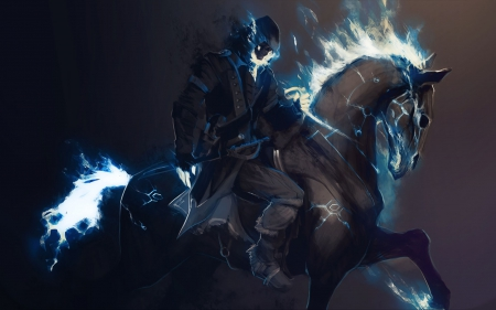 Dark knight - fantasy, game, dark knight, man, horse, light