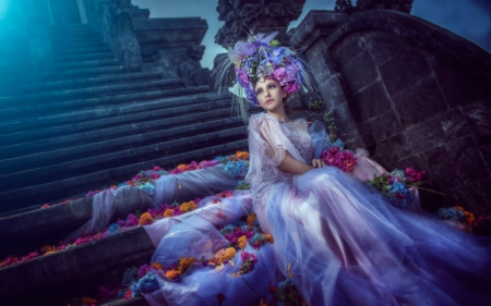 Beauty - dress, model, bride, stairs, woman, cinderella, girl, flower, beauty, white, pink, blue