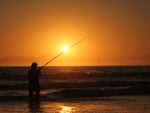 Ocean Fishing at Sunset