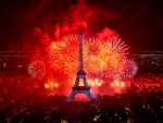 Fireworks over Eiffel Tower